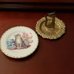 2 vintage cat jewelry holders